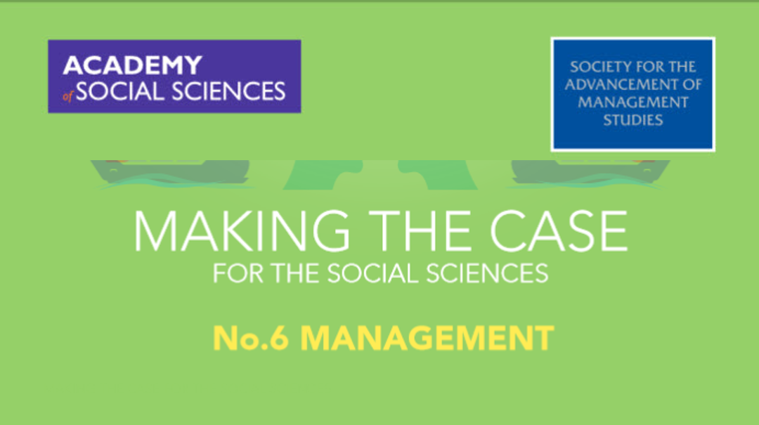 David's work features in making the case for the social sciences – management