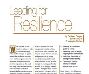 Leading for resilience